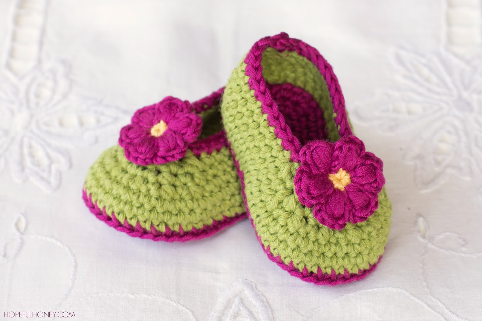 Crochet Baby Booties Pattern For Free : Hopeful Honey Craft, Crochet, Create: Fairy Blossom Baby ...