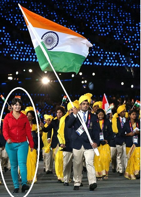 Unknown woman with sushil kumar in Olympics