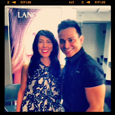 Alex Sanchez and Jessica Moazami, aka Fashion Junkie backstage at Glamorama