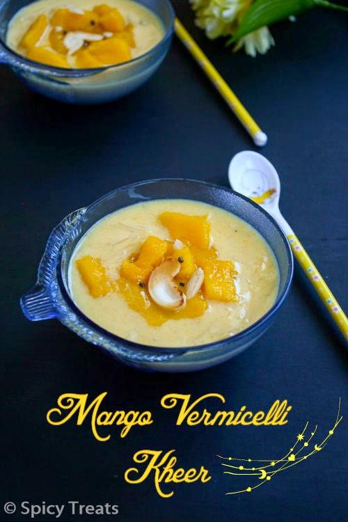 mango vermicelli kheer / mango kheer - easy mango dessert recipe !