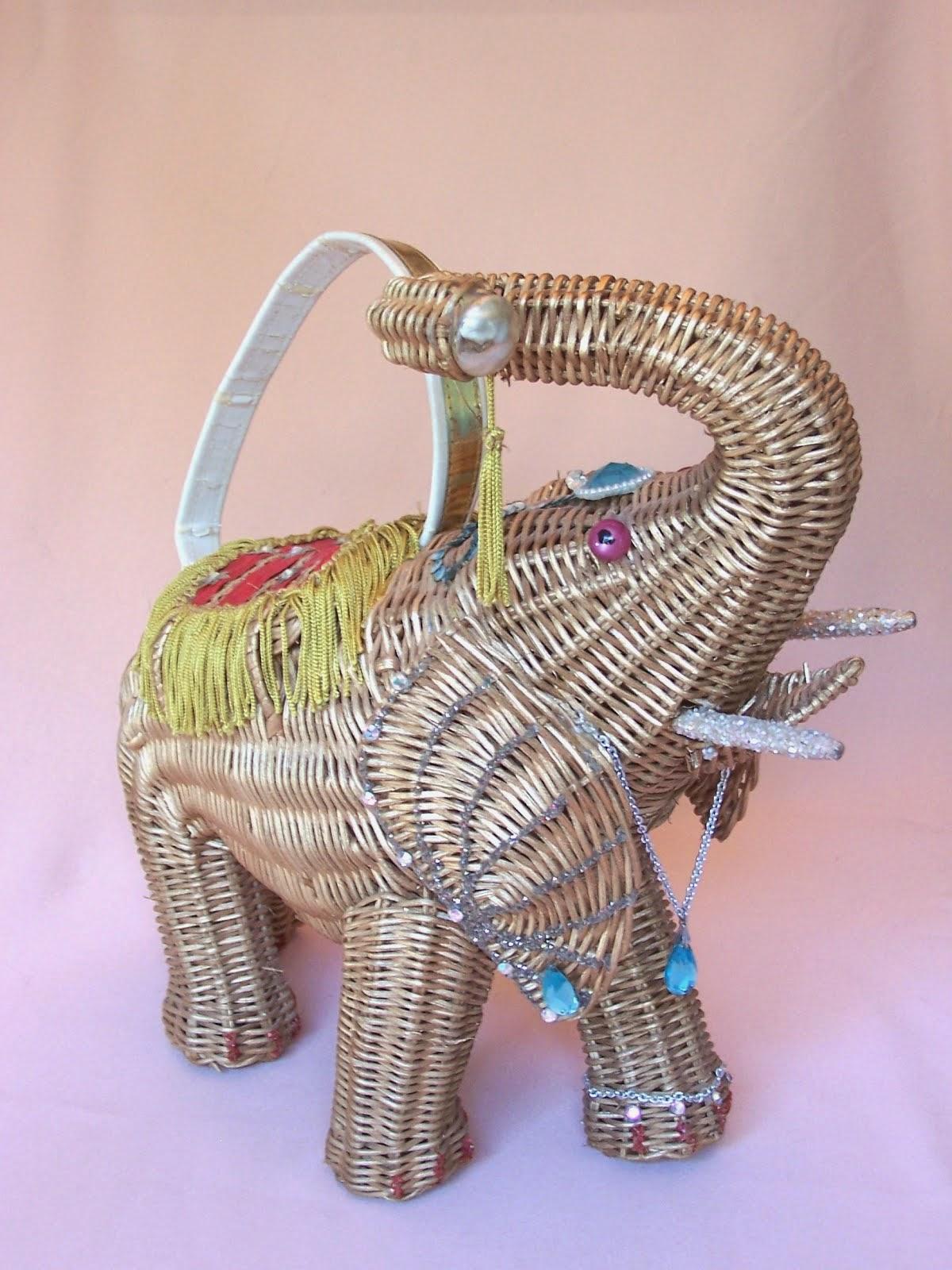 Midas of Miami Wicker Elephant Purse