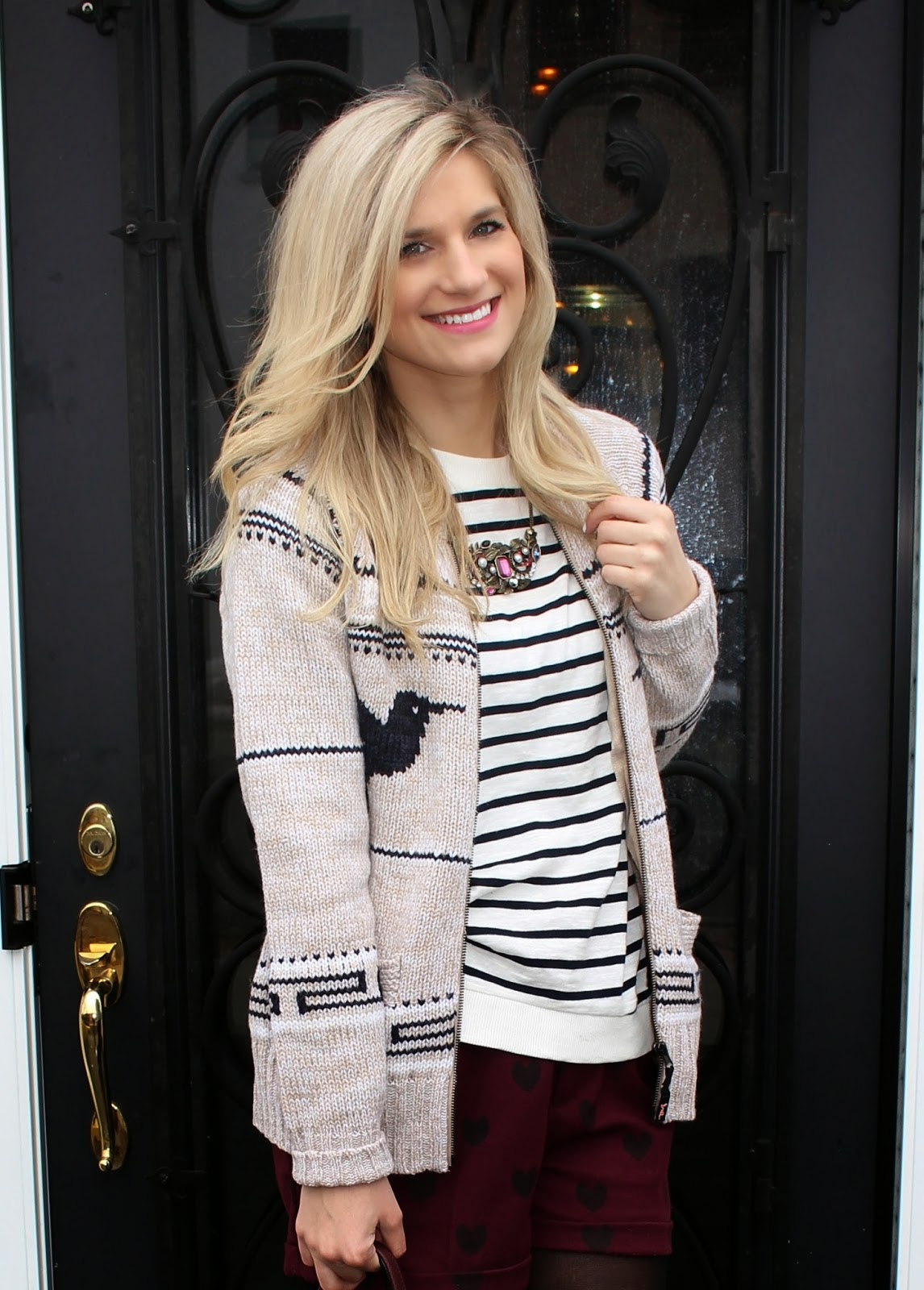 bijuleni,streetstyle,Zara,winter shorts, cardigan, winnersfabfind, stripe,fashion blogger