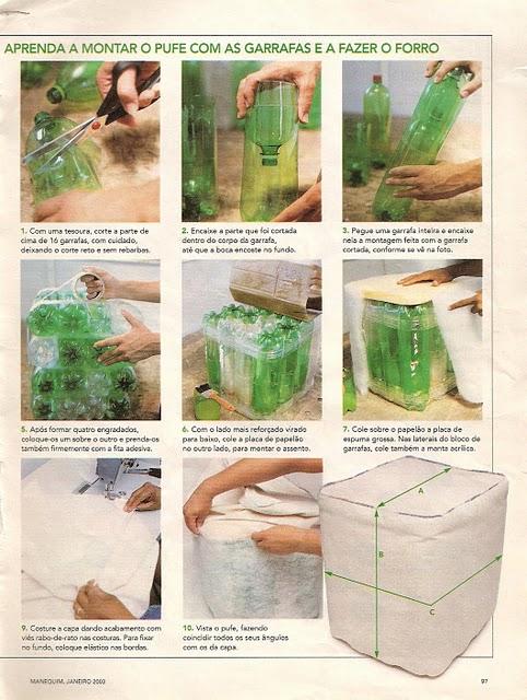 Как сделать пуфик из пластиковых бутылок своими руками 23