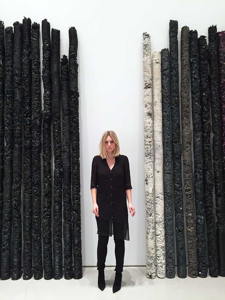 Wearing a Helmut Lang dress at Helmut Lang art exhibition