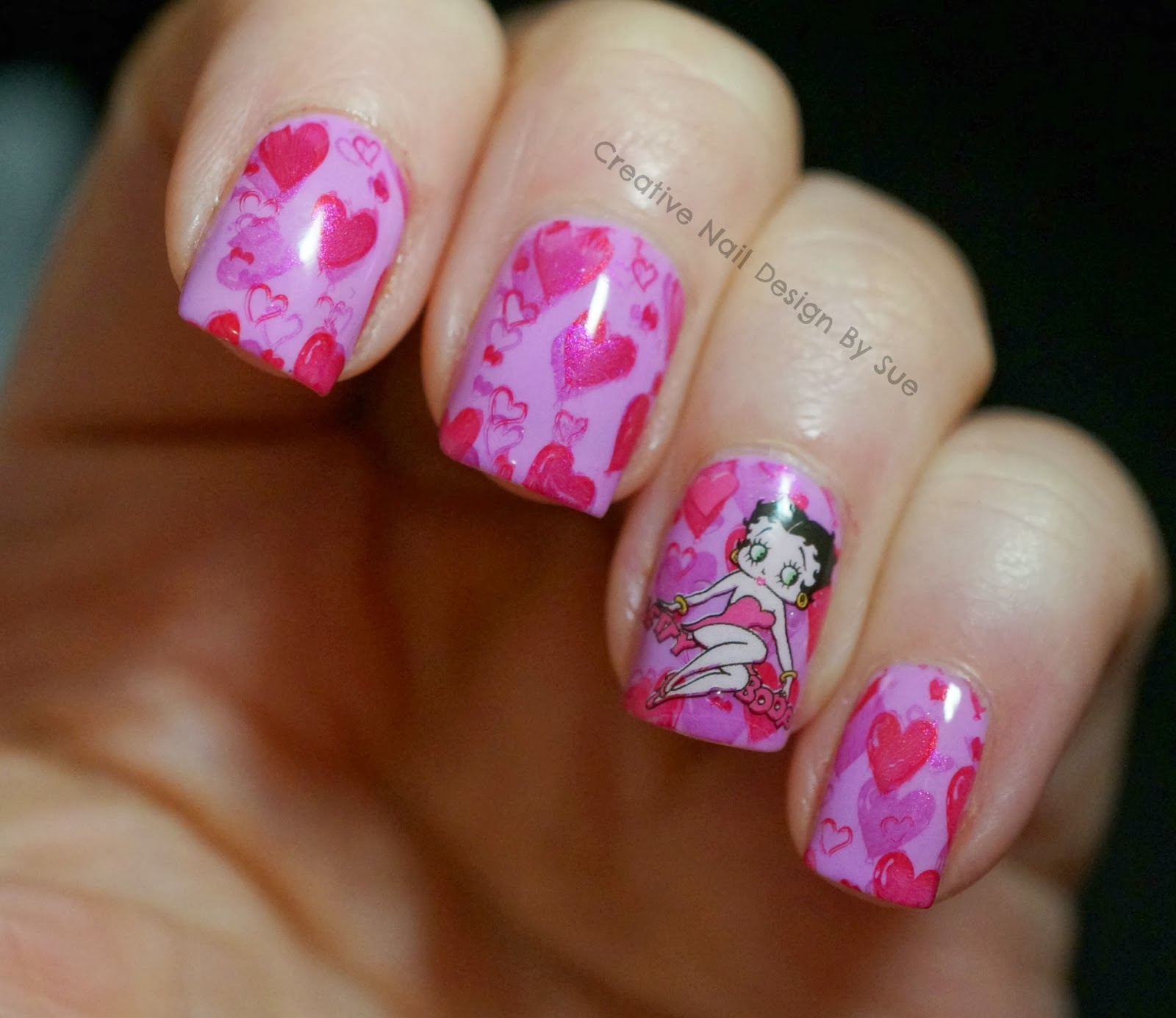Betty Boop Nails: Creative Nail Design By Sue: Quick Valentine's Nails With