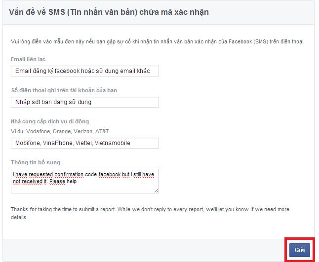 không nhận được mã xác thực mạng viette facebook