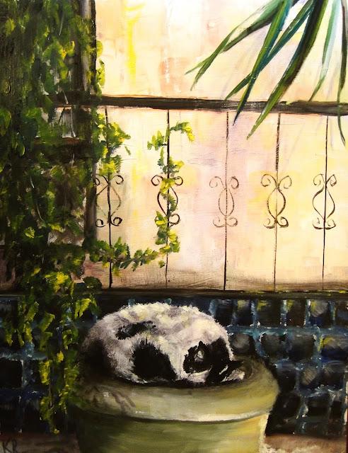 oil painting of a cat asleep in a flower pot, a pet portrait by karen