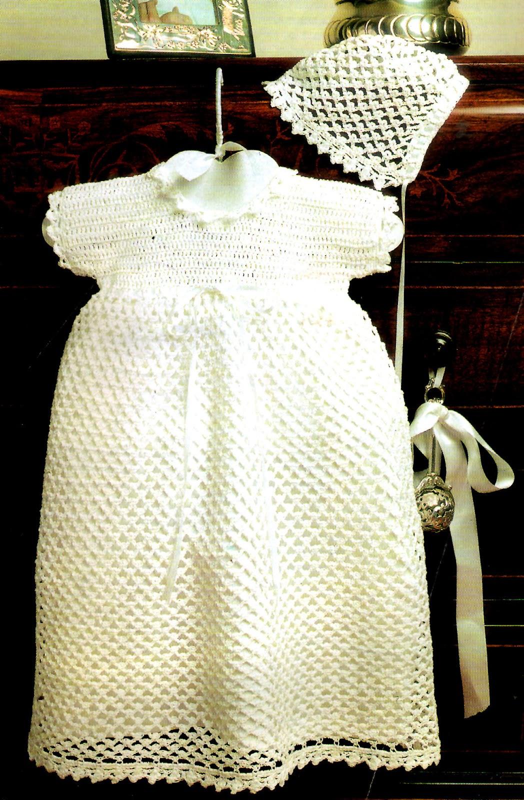tejidos artesanales en crochet: vestidito y gorrita en blanco para ...