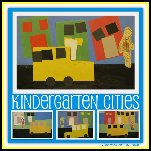 Kindergarten Art Project of School Buses in the City from Simple Shapes (RainbowsWithinReach)