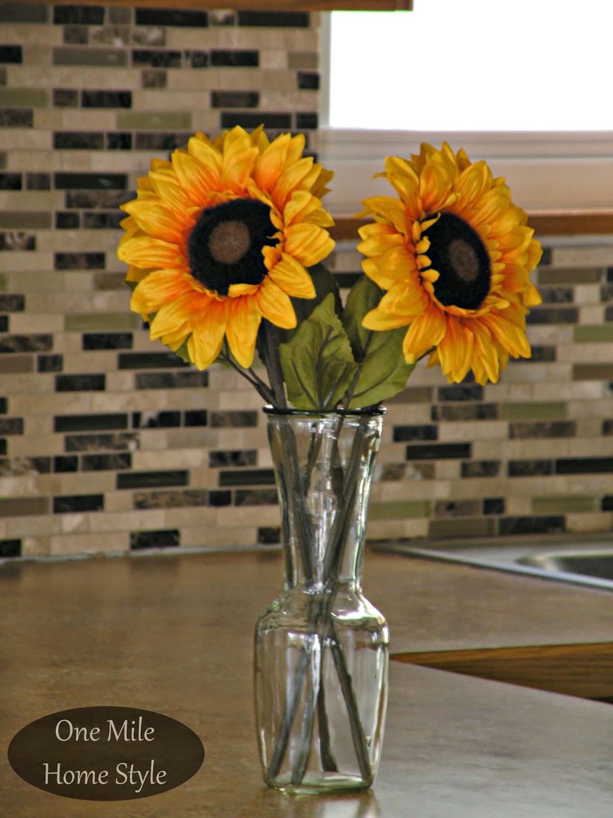 Kitchen Mini-Makeover - Sunflowers and tile backsplash