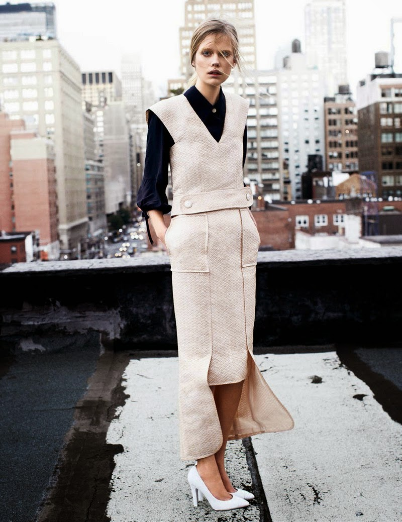 Fashion editorial:  Sleek dressing, Vogue Spain (February 2014) featuring Stina Rapp Wastenson, Shot by Victor Demarchelier, Styled by Marino Gallo