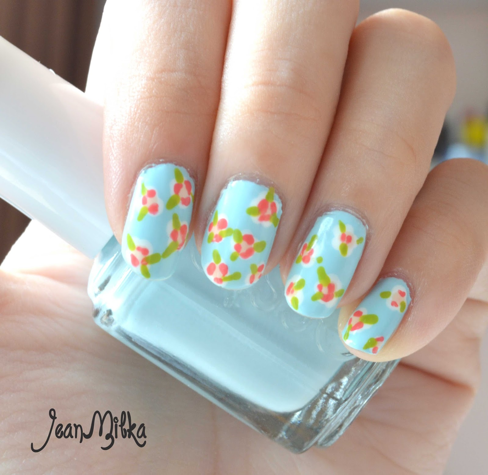Pink Manicure Summer Flowers Nail Art Tutorial For Beginners