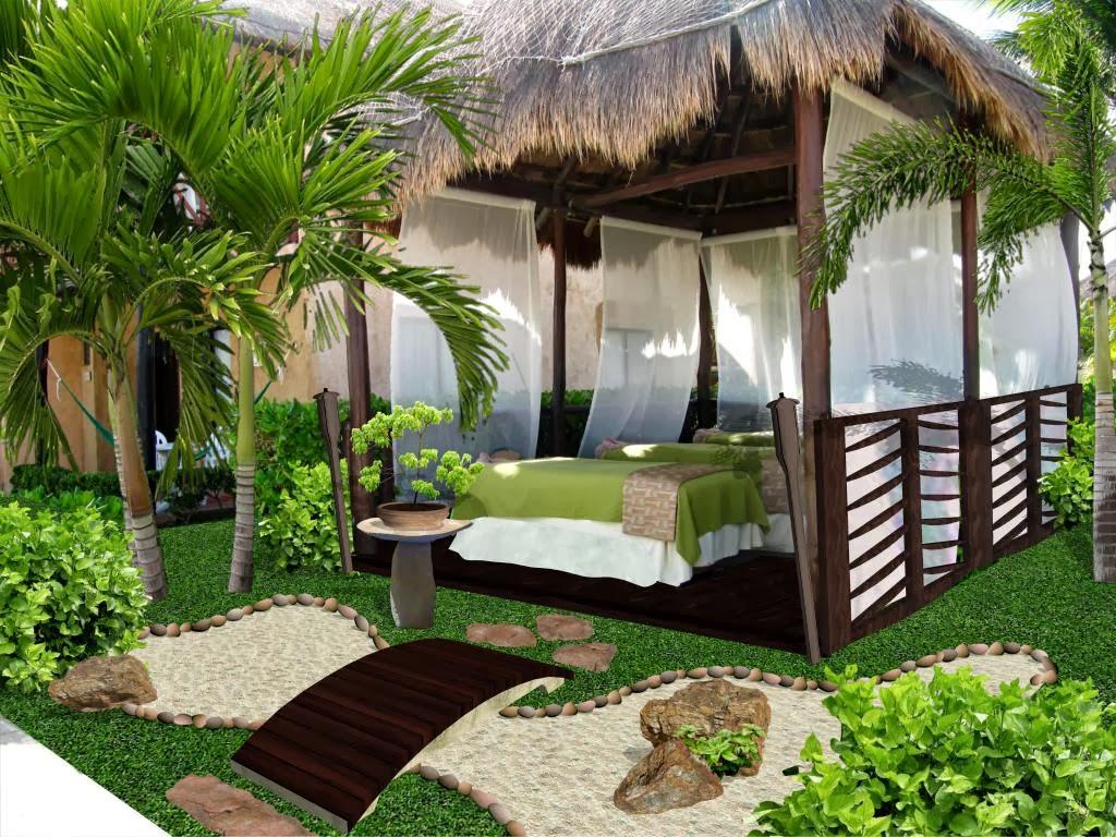 Dise o de jardines peque os palapa de masage y spa hotel for Cascadas jardin zen