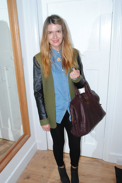 khaki+jacket+leather+sleeves+topshop