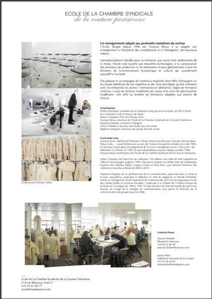 Publication dossier de presse ecole de la chambre - L ecole de la chambre syndicale de la couture parisienne ...