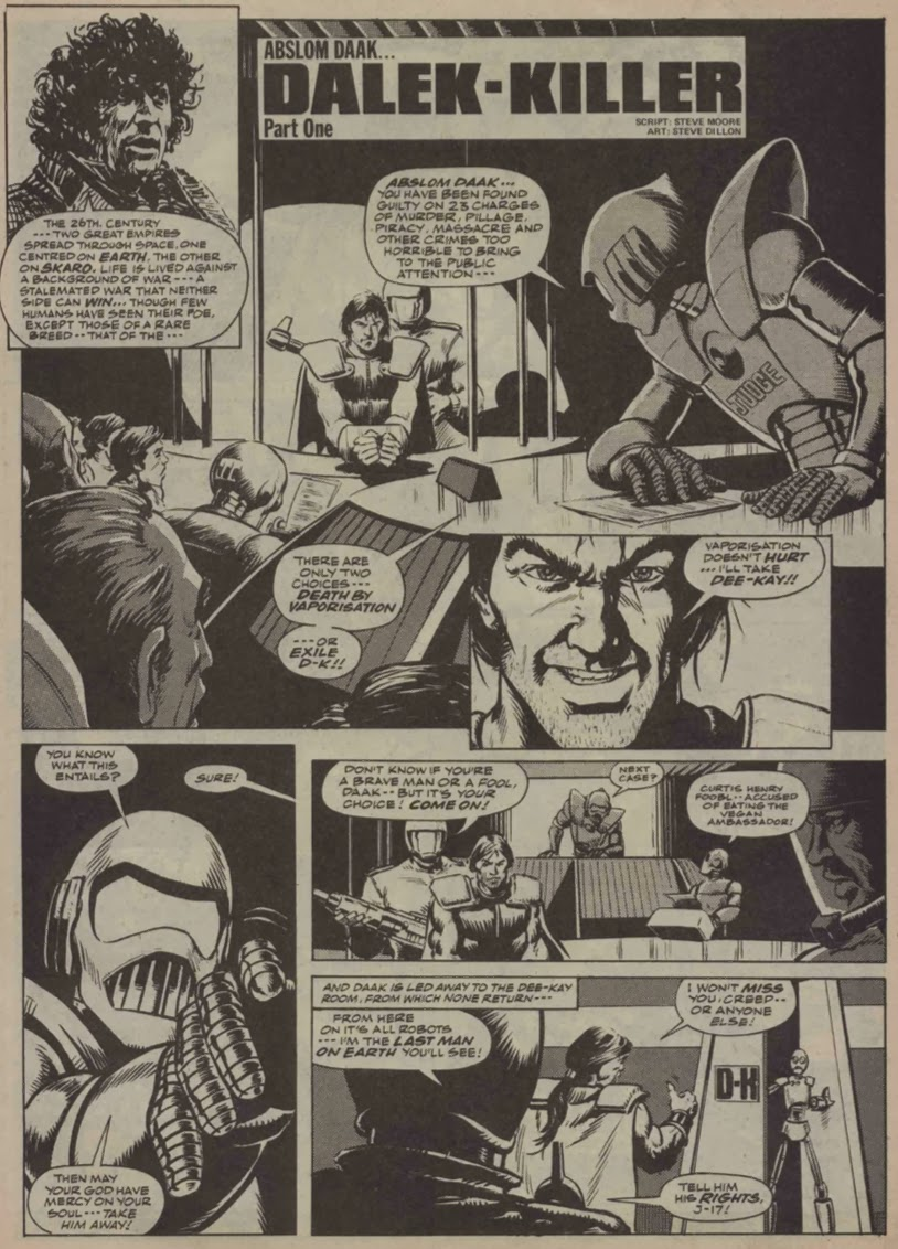 A fluctuation in the visual purple the last war in albion part 18 figure 143 abslom daak embraces his fate in the first page of abslom daak dalek killer doctor who weekly 17 steve moore and steve dillon 1980 fandeluxe Gallery