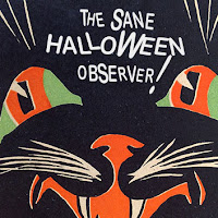 Face of a 1930s Gibson diecut black cat character with typical font styling