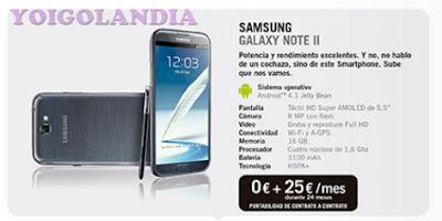 Samsung Galaxy Note 2 por 0 euros más pago a plazos en febrero Yoigo