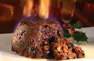 A Traditional Christmas Pudding flamed with Brandy