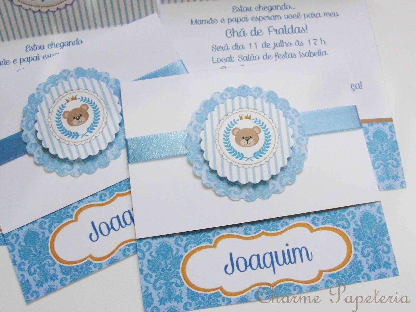 Charme Papeteria Kit Ursinho Príncipe Para O Chá De Bebê Do Joaquim