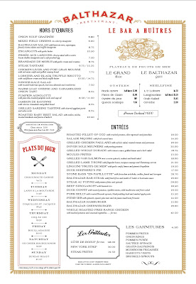 The menu at Balthazar, London