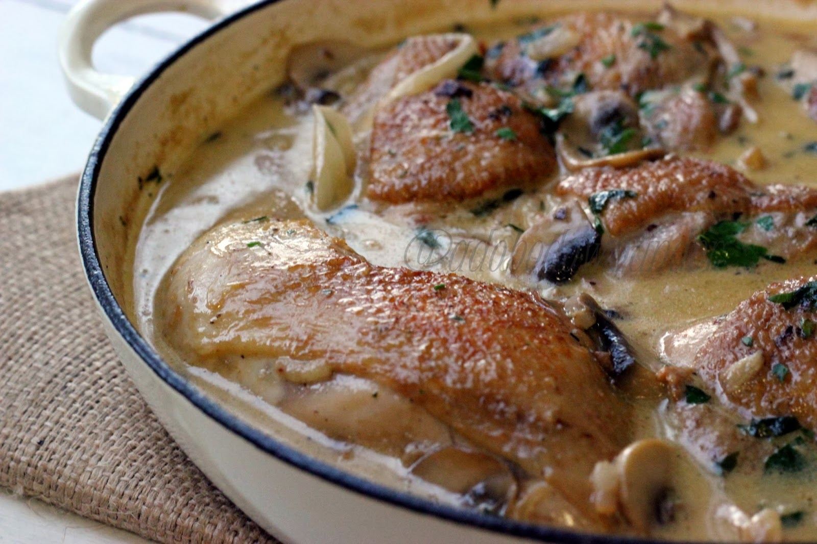 ... under: Coq au Verdelho (chicken with mushrooms in white wine sauce