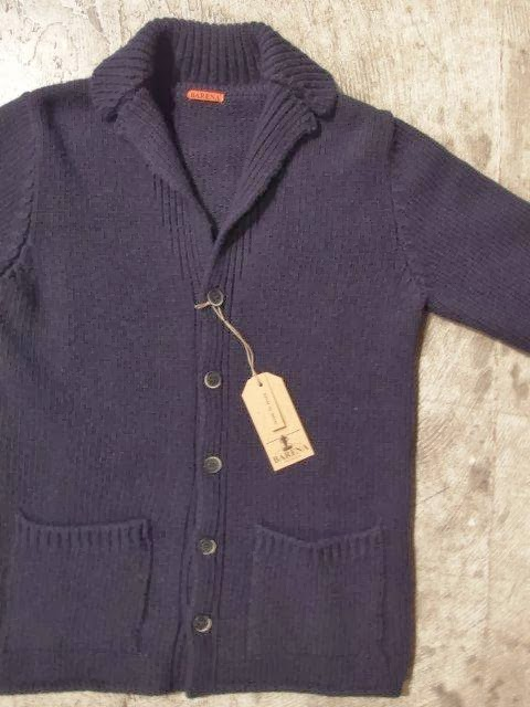 barena tailor collar knit cardigan solid navy
