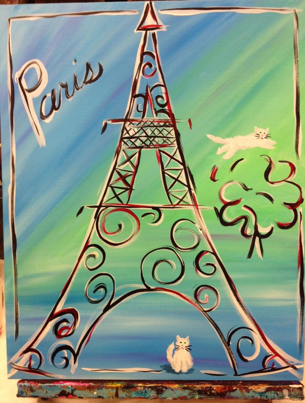 kitten-painting, cat-painting, eifel-tower-painting, sips-n-strokes, dip-n-dab