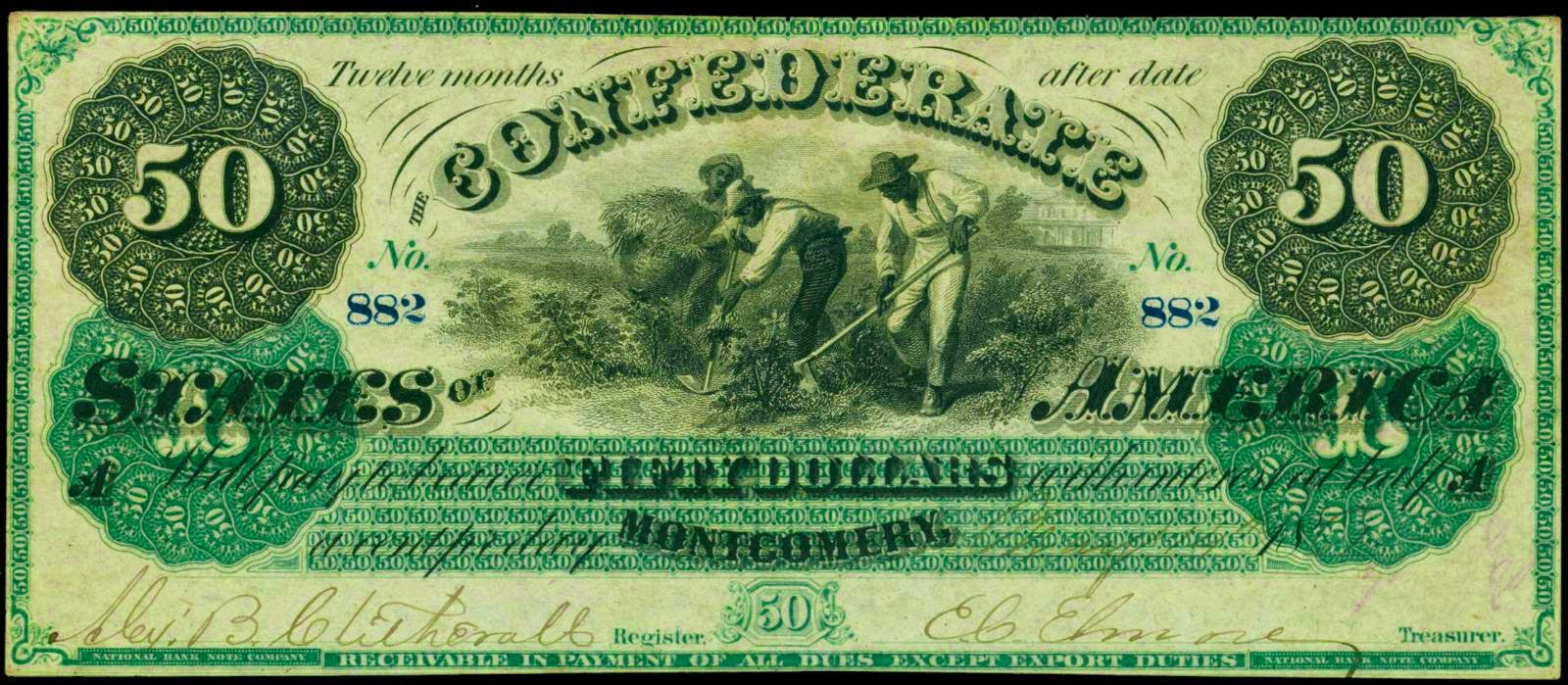 Confederate Currency 1861 50 Dollar Montgomery Note