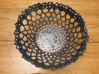 Cement lace bowl made with a doily