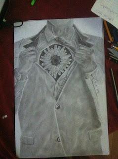 flower heart sketch