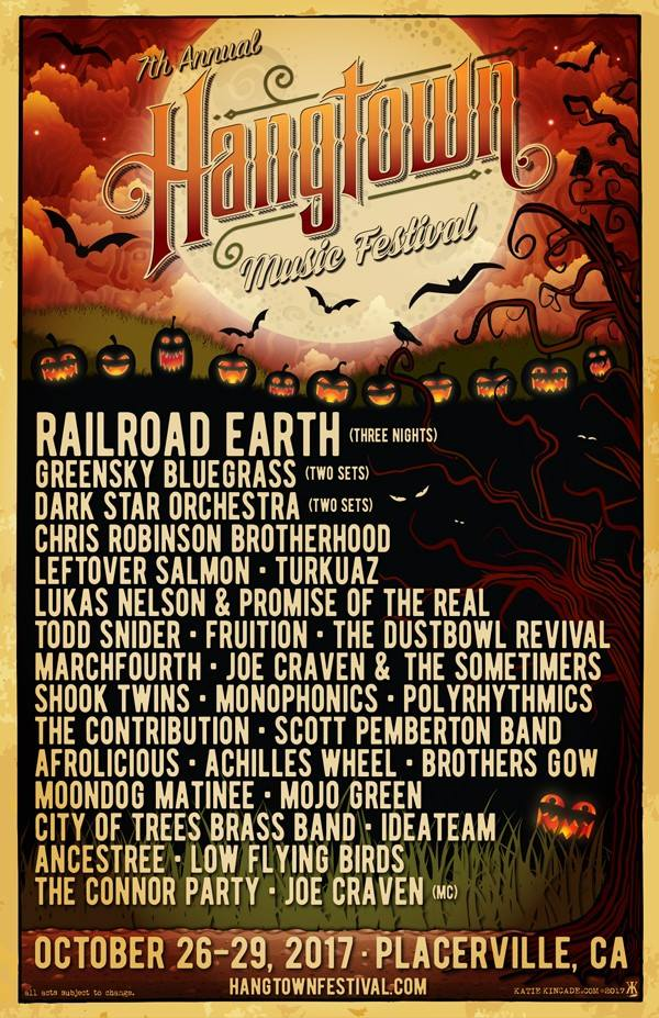 10/26 - 10/29 : Hangtown Music Festival: in Placerville, CA