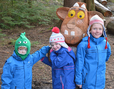 Gruffalo's Child wooden sculpture at Stick Man Trail in Hamsterley Forest, Durham