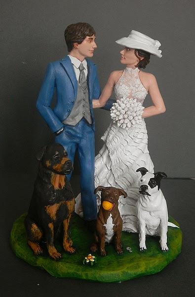 statuine torme matrimonio sposini realistici cake topper con cane orme magiche