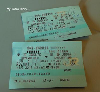 Shinkansen tickets of Nozomi Bullet train, Japan