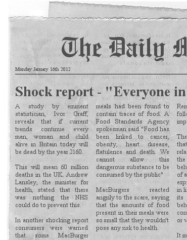 Spoof newspaper scare story