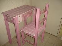 Mesa Infantil Rosa/Xadrez