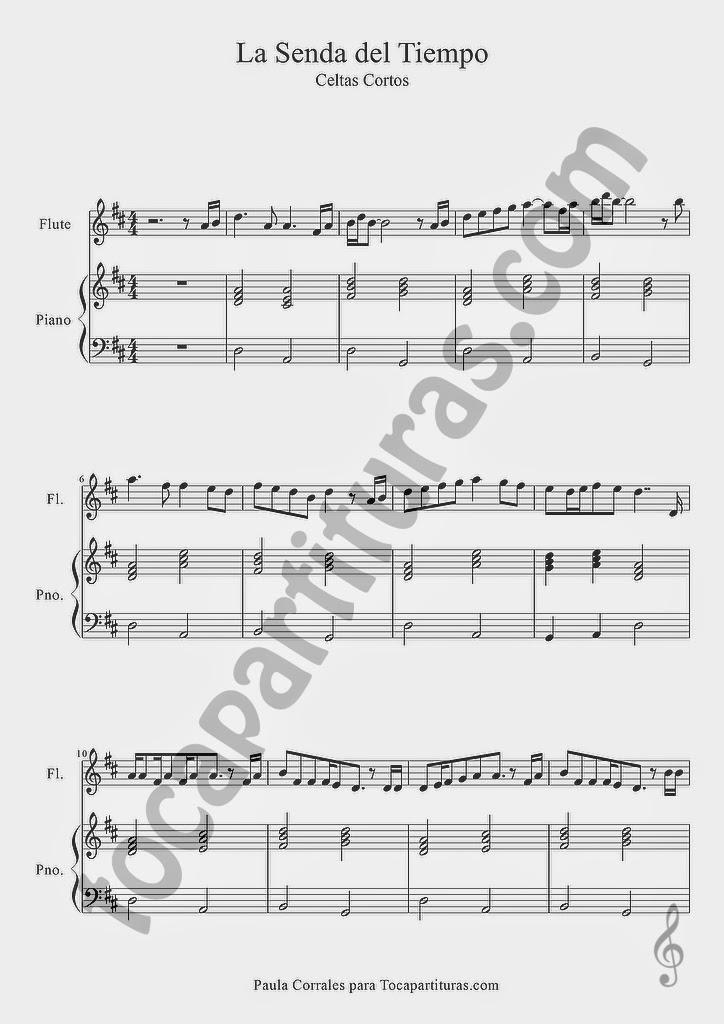 La Senda del Tiempo partitura de Flauta y Piano a duo Hoja 1