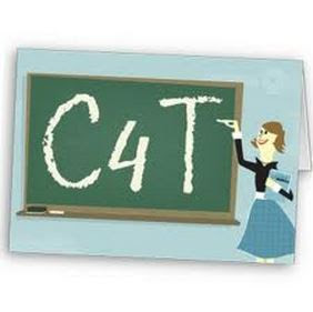 Chalkboar that says c4t and a teacher pointing to it