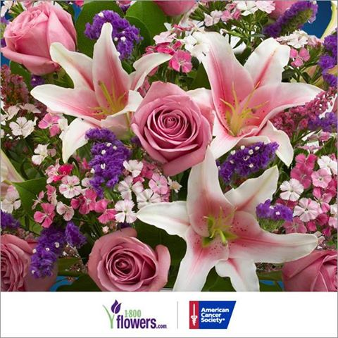 Use promo code HOPE        1-800-Flowers gives $10 to American Cancer Society