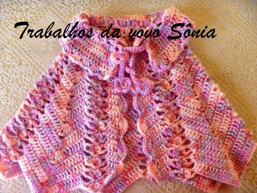 Trabalhos da vovó Sônia: Capinha (pelerine) infantil rosa mescla