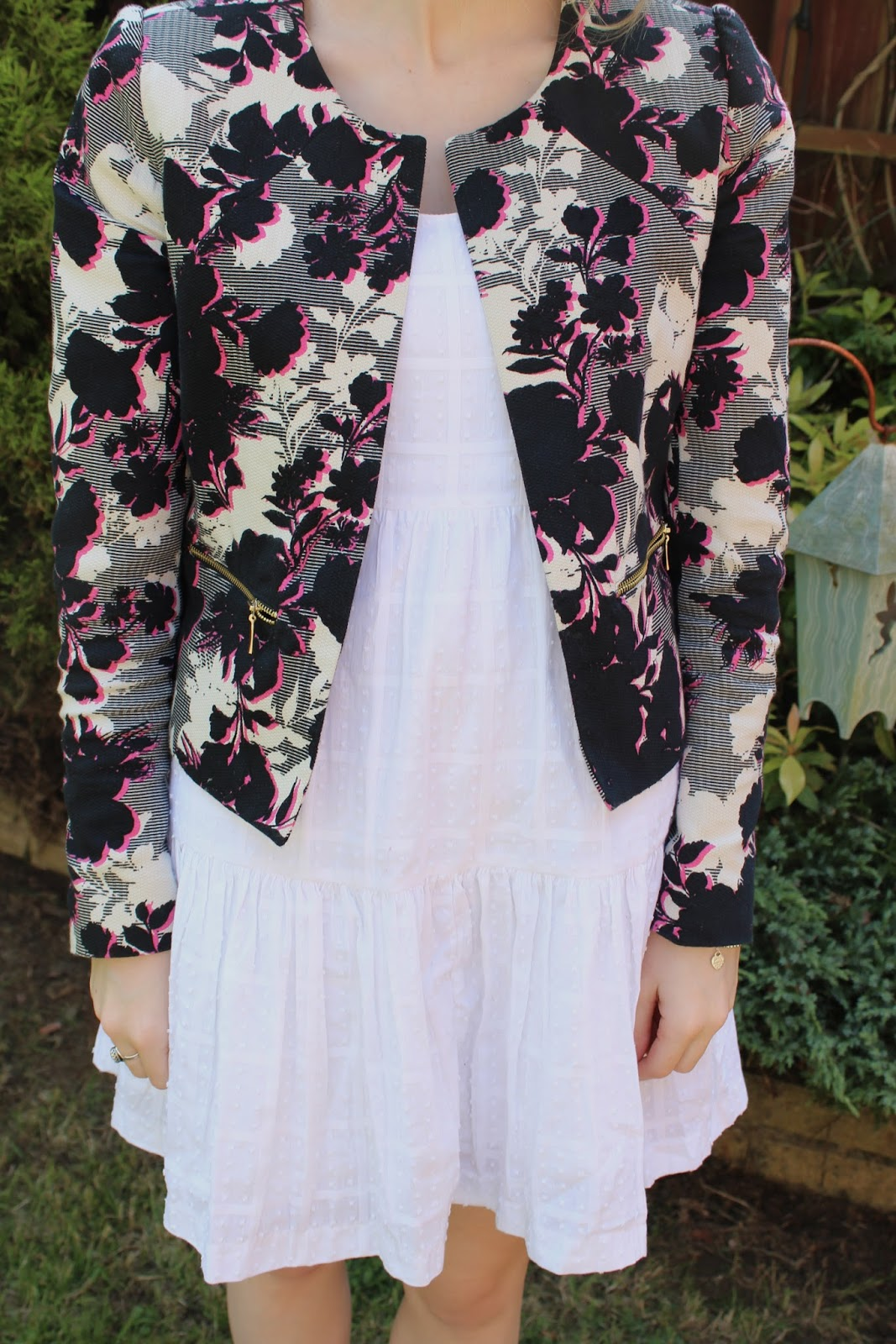 Close up of floral Primark jacket