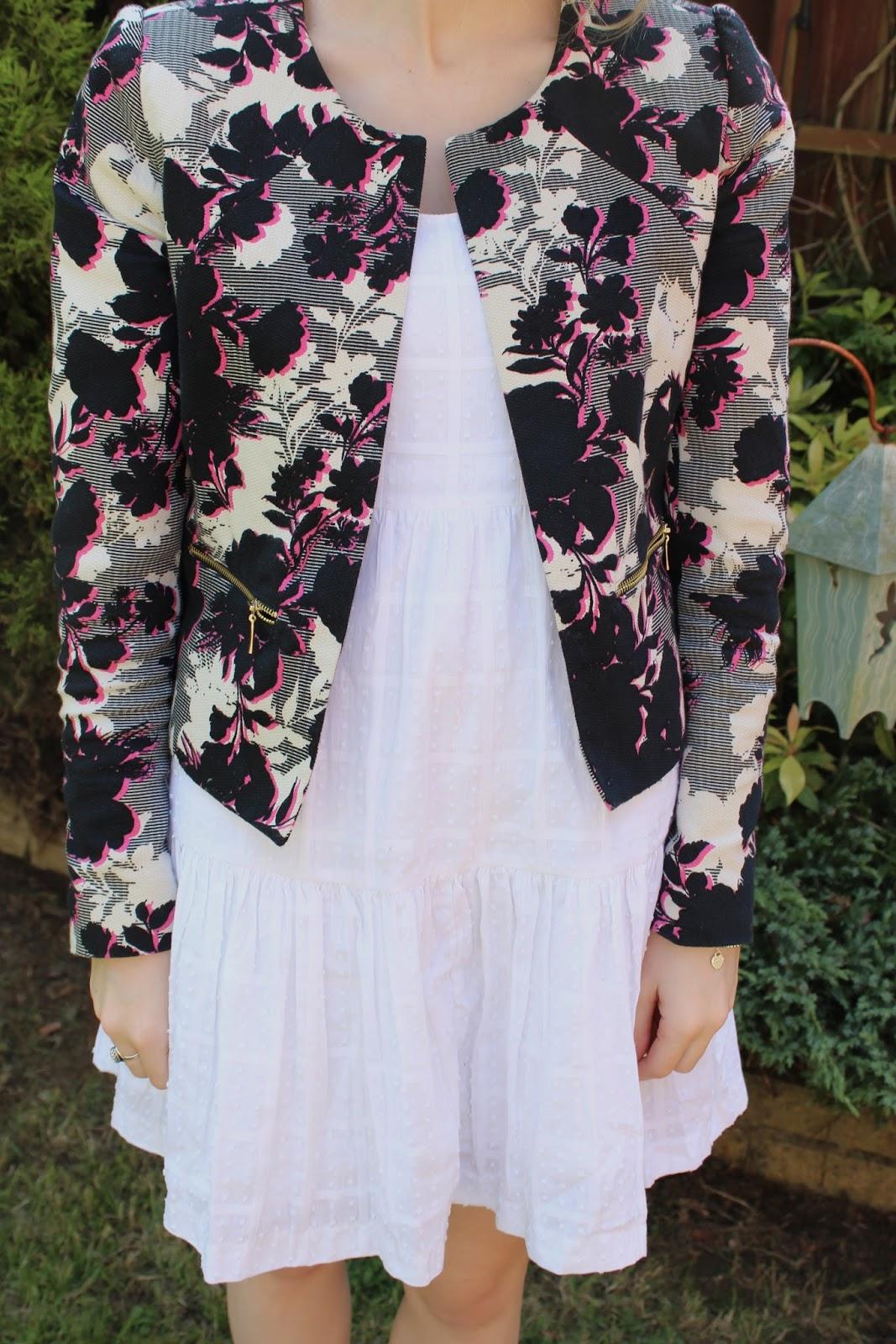 Close up of floral Primark jacket