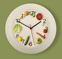 Clock with fruits & vegetables on it