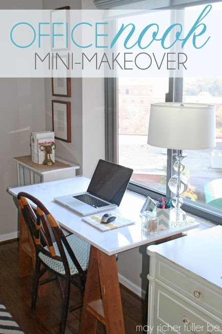 DIY sawhorse desk with upholstered top