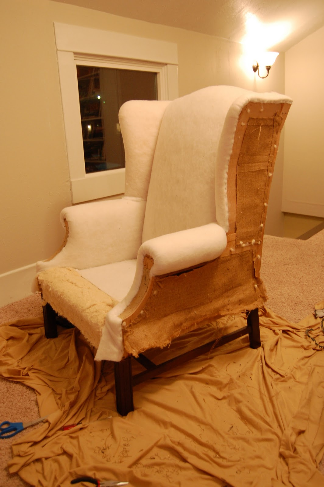 Praying for sunshine how to reupholster a wingback chair for How to reupholster a chair