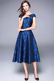 New 2017 Short Sleeve Blue Glossy Floral Flower Embroidery Past Knee Length Flare Dress