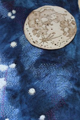 Moon and stars textile work