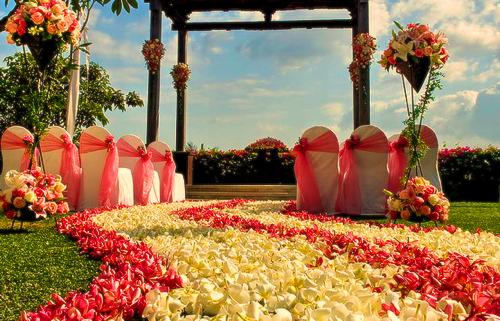 Casamento durante o dia. Decoração branco e rosa. Cores e iluminação