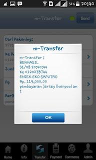 Bukti screenshot transfer ke rekening yang di sediakan enkosa sport